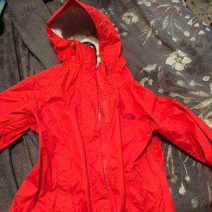 EUC coral North Face rain coat